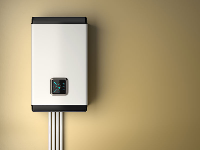 3d rendering of white electric boiler with smart control on the  wall. Energy saving concept